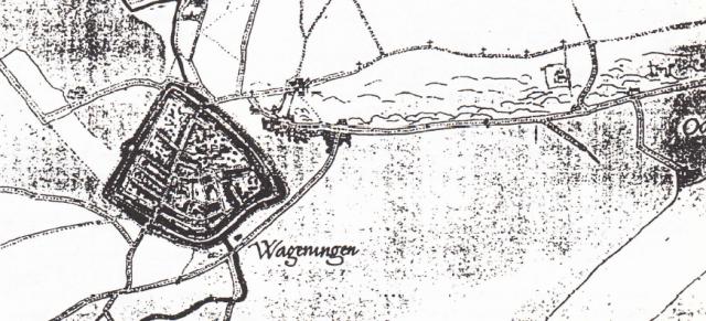 Kaart van Wageningen door Jacob van Deventer (ca. 1560) met daarop aangegeven de kruisweg van Wageningen naar de Westberg; rechts, onder het laatste kruisje de kerk van St. Jan de Doper.