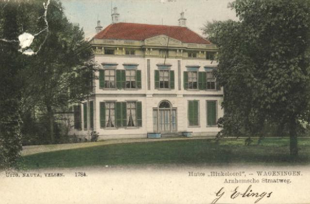Foto Huize Hinkeloord ca. 1904 - Foto gemeentearchief } www.beeldbankwageningen.nl